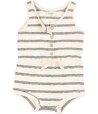 Buho Holiday Romper Jersey Navy Stripes Cloud
