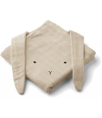 Liewood Hannah Muslin Cloth Rabbit 2-Pack Sandy