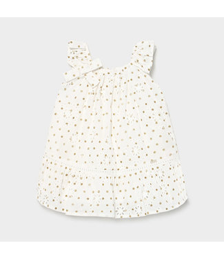 Mayoral Perforated Dotted Dress Crudo