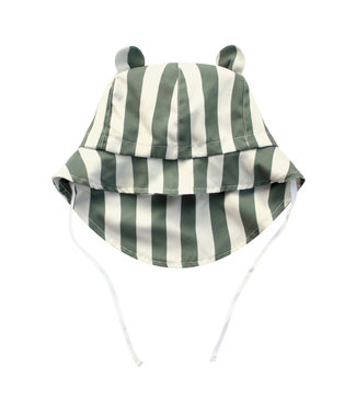 Your Wishes Bold Stripes Bear Summer Hat Old Green