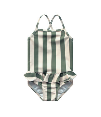 Your Wishes Bold Stripes Swimsuit Old Green