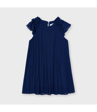 Mayoral Plated Dress Midnight Blue