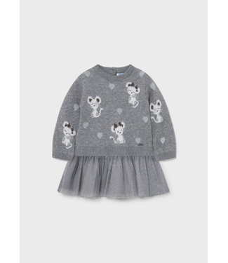 Mayoral Tricot Tulle Dress Grey Mouse