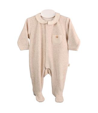 Baby Gi Camel Velours Babygrow With Piqué Collar & Pocket
