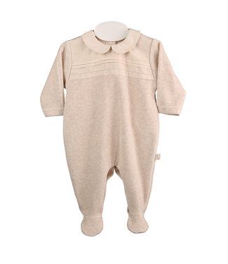 Baby Gi Camel Velours Babygrow With Chest Detail Piqué Collar