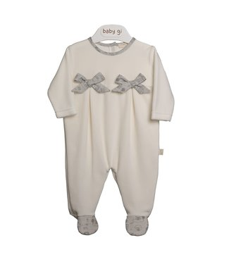 Baby Gi Pearl Velours Babygrow With Bow Village