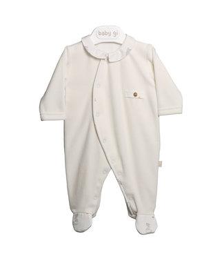 Baby Gi Pearl Velours Babygrow Fox Buttons & Pocket
