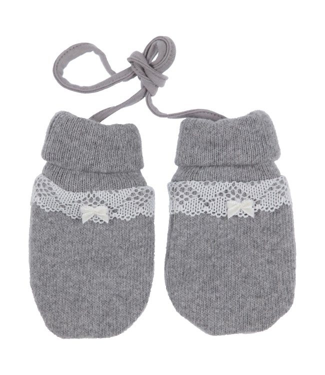 Gymp Mitten Lace And Bow Grey