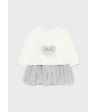 Mayoral Knitted And Tulle Dress Gray