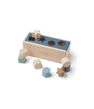 Liewood Midas Puzzle Box Geometric Whale Blue Multi Mix