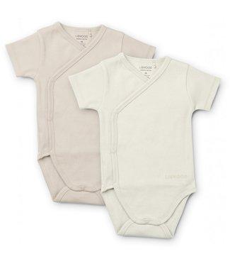 Liewood Hali Body Stocking Short Sleeve 2-pack Creme De La Creme Sandy Mix