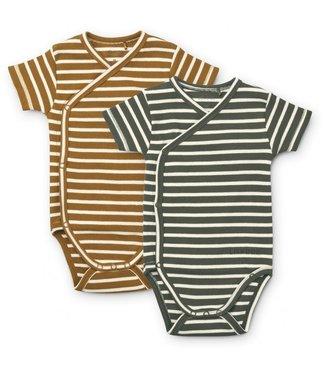 Liewood Hali Body Stocking Short Sleeve 2-pack Stripe Hunter Green/Multi Mix