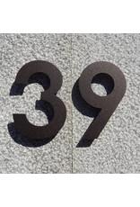 Huisnummer RVS 120mm mokkabruin