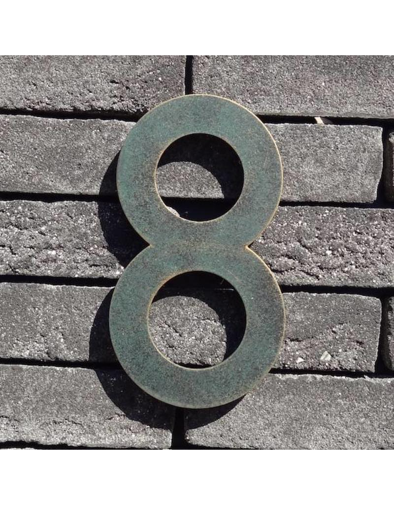 Huisnummer RVS 160mm groen/goud