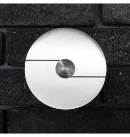Deurbel op RVS plaat 6mm - Rond 85mm