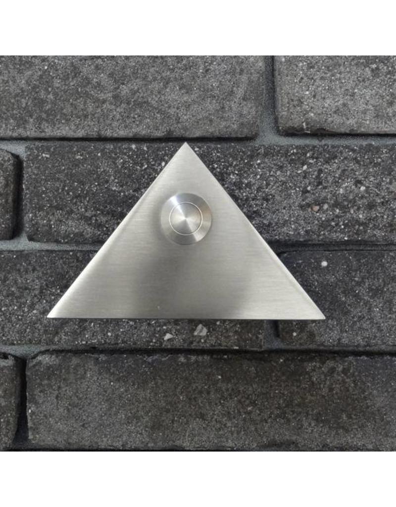 Deurbel op RVS plaat 6mm - driehoek