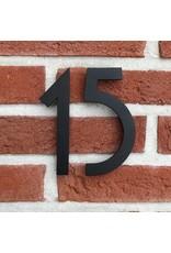 Huisnummer in RVS zwart