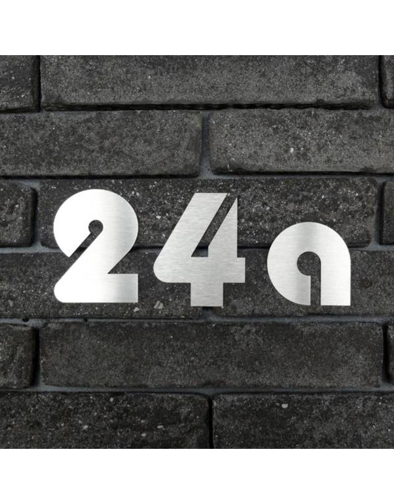 Huisnummer RVS om te kleven 70mm