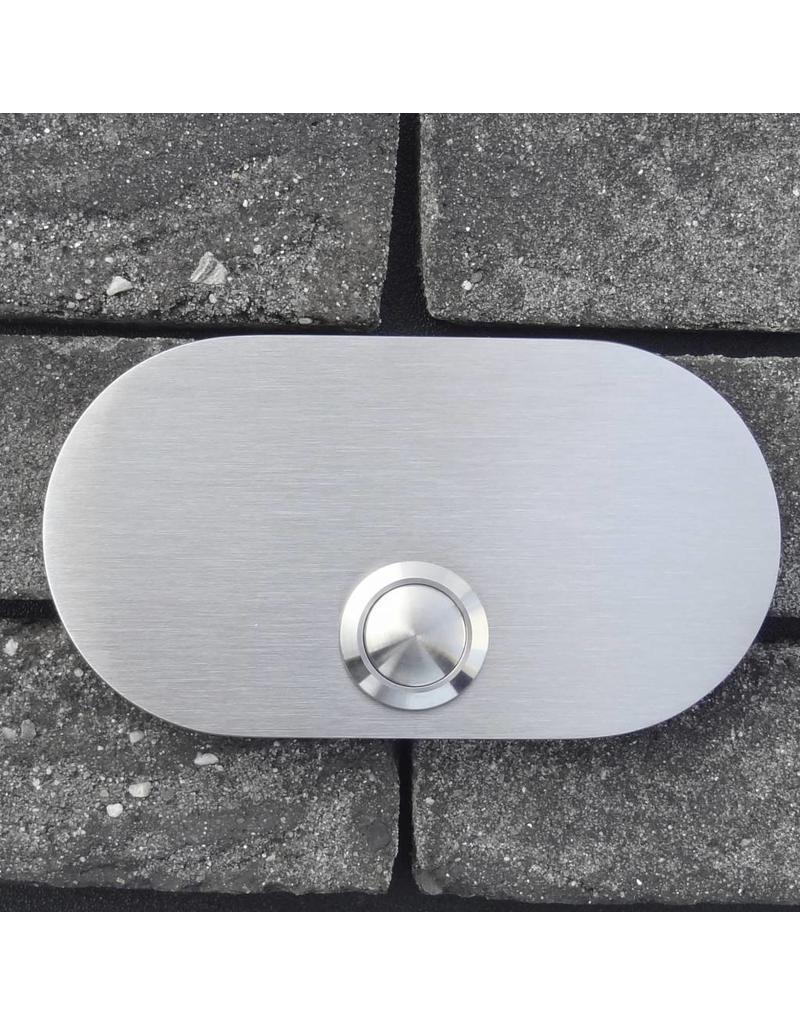 Deurbel op RVS plaat 6mm - rechthoek rond 110 x 60mm