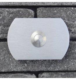 Deurbel op RVS plaat 6mm - rechthoek rond 78 x 53mm