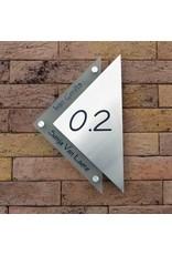 Driehoek naamplaat glaslook met RVS 29x22