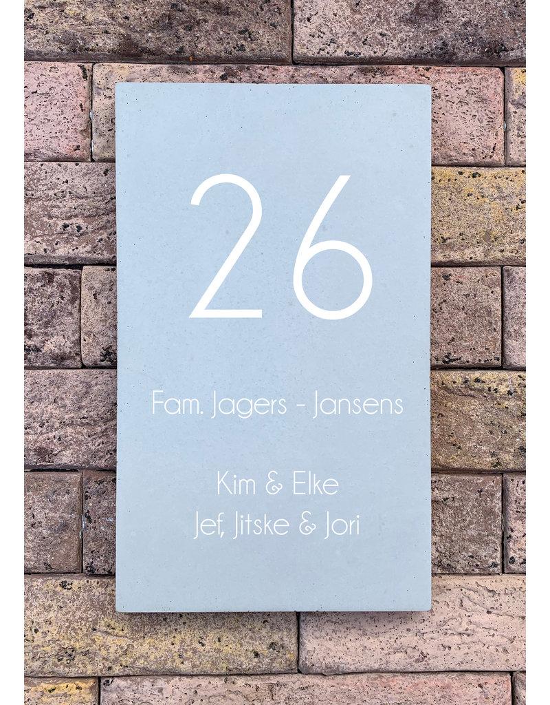 Naambord in beton (25x15cm)