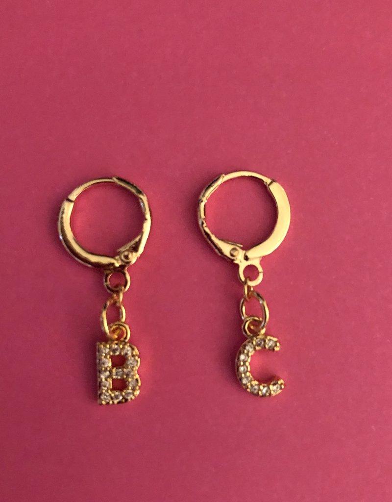 Diamond Letter Earrings