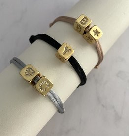 Diamond Block Bracelet Gold