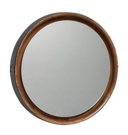 MATER SOPHIE MIRROR LARGE natural mango wood black leather DIA61