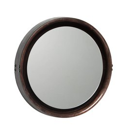 MATER SOPHIE MIRROR MEDIUM sirka grey stained mango black leather DIA50