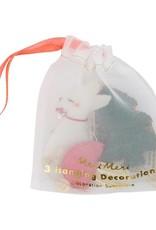 Meri Meri Mini Décorations de Noël Forêt en tissu - Set de 3