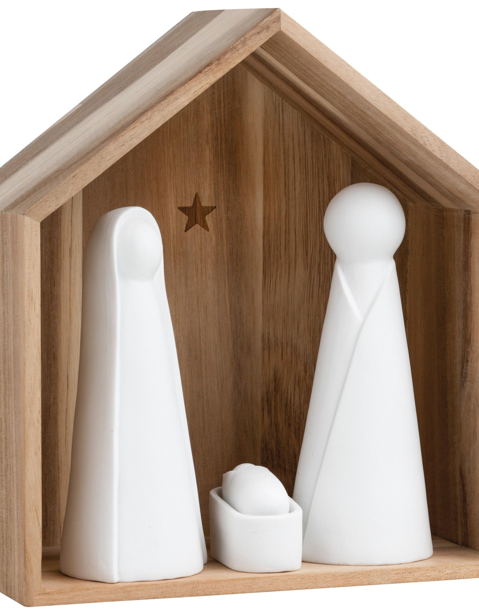 Rader Grande crèche en bois et figurines en porcelaine