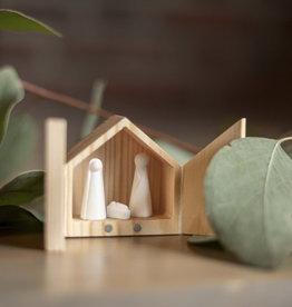 Rader Mini crèche en bois et figurine en porcelaine