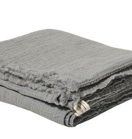 """Bed & Philosophy Plaid en gaze de coton """"Plouf""""  Orage 150x180cm"""