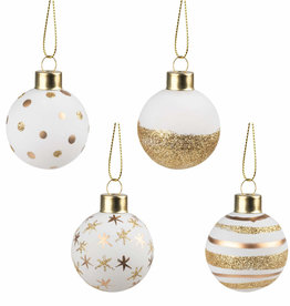 Rader Christmas Baubles or et blanc
