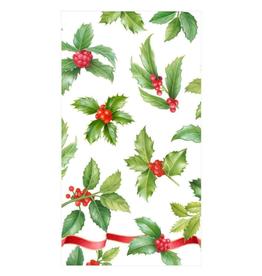 Serviettes rectangle papier Ivory Holly Toss