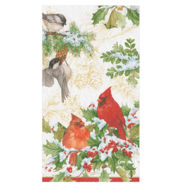 Serviettes rectangle papier Christmas Birds and Greenery