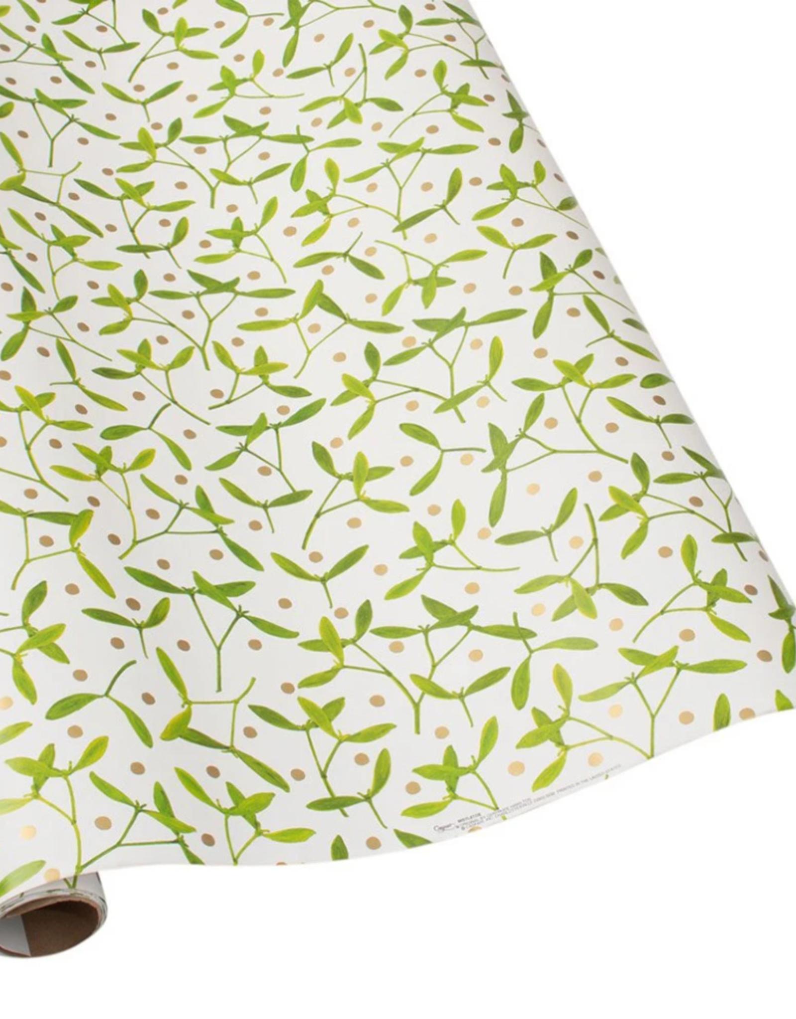Rouleau de papier cadeau Mistletoe blanc
