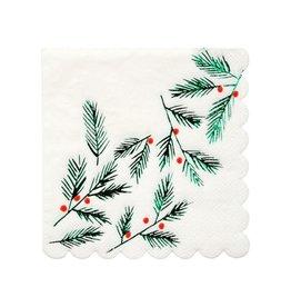 Meri Meri Petites Serviettes en papier Feuilles et Baies rouges