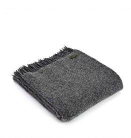 """Tweedmill Textiles Plaid  en pure laine  Gris Ardoise """"Wafer"""" 150 x 183 cm"""