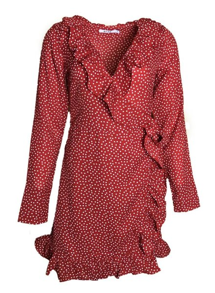 NA-KD DOTTED FRILL DR red