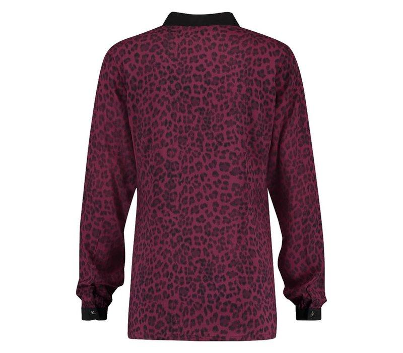 Bertie Blouse - Wine Red Leopardprint