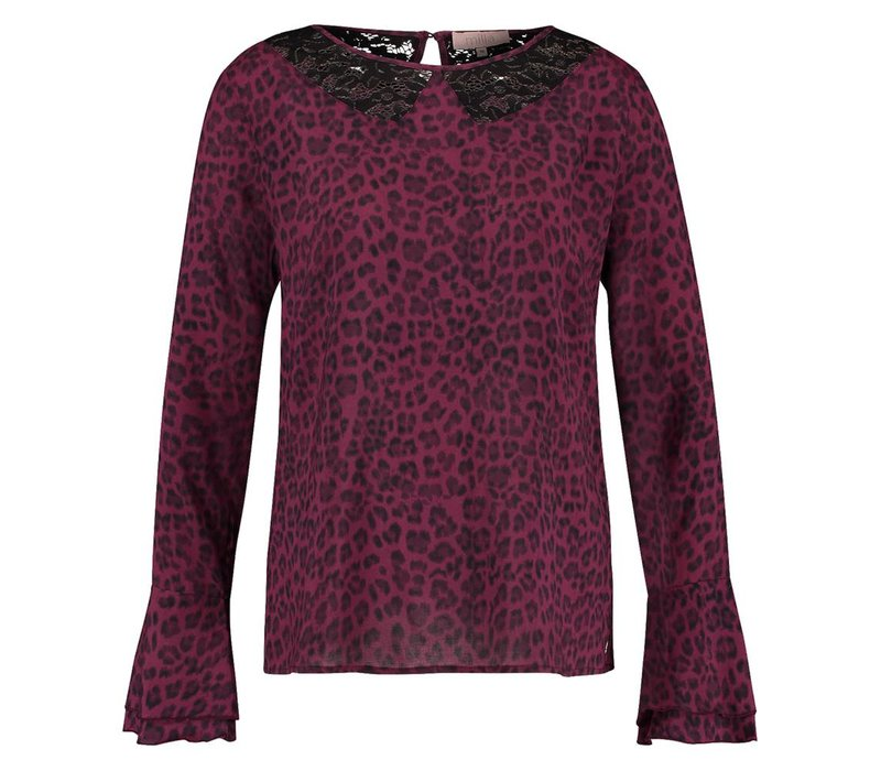 Bekky Blouse - Wine Red Leopardprint