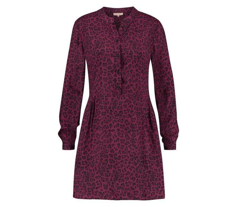 Daria Dress - Wine Red Leopardprint