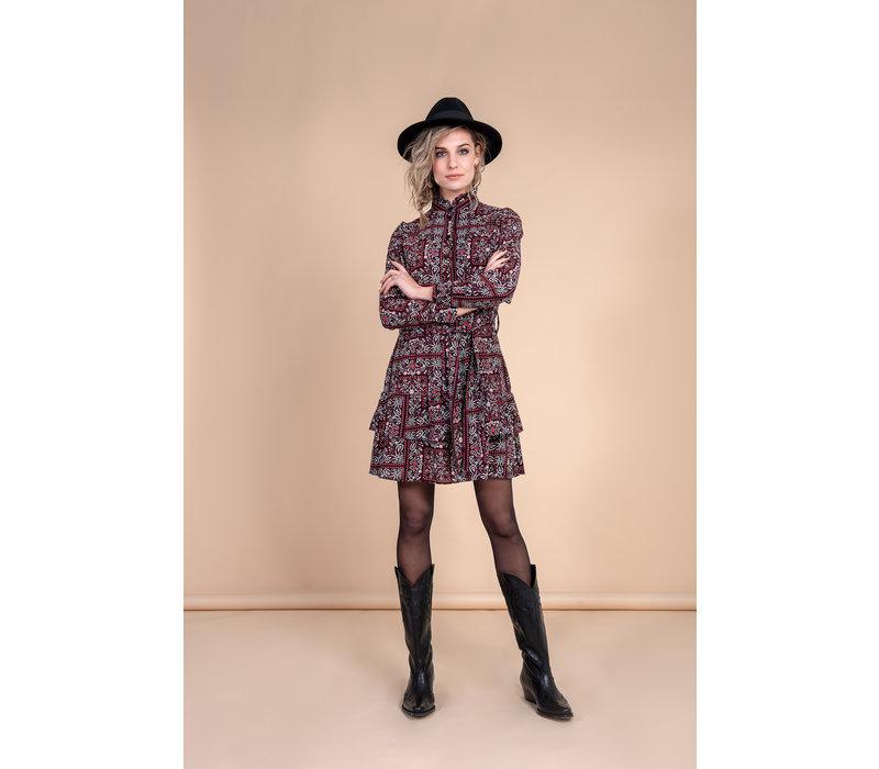 Dena Dress - Red Black