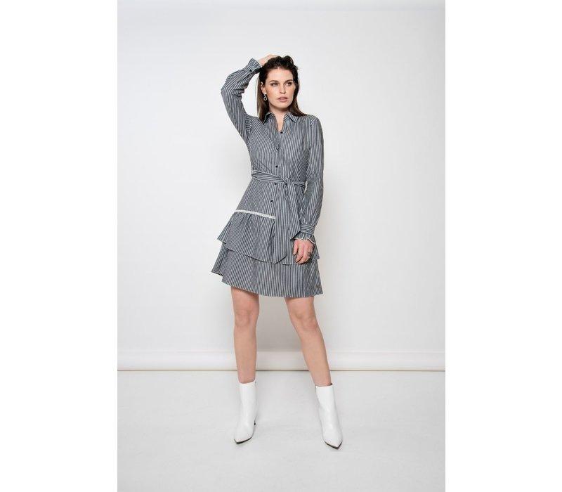 Dirkje Dress - Grey White
