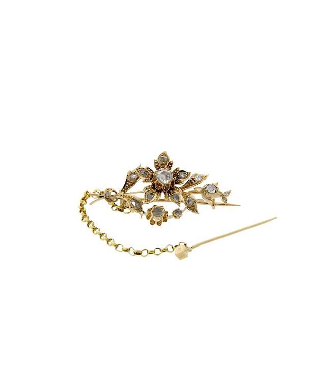 Gouden vintage broche met roosdiamant 14 krt