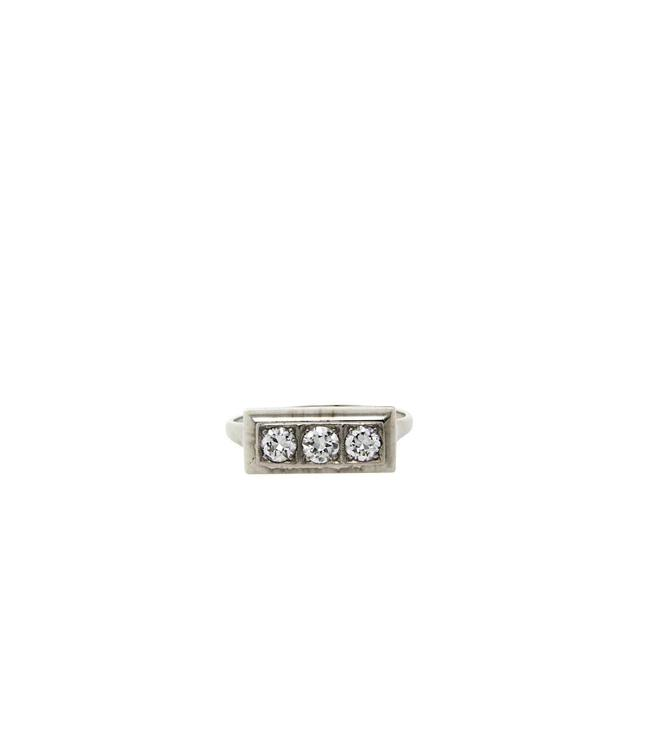 Witgouden fantasie ring met diamant 14 krt