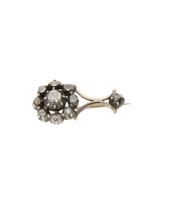 Vintage brooch with rose diamond 12 krt / 835