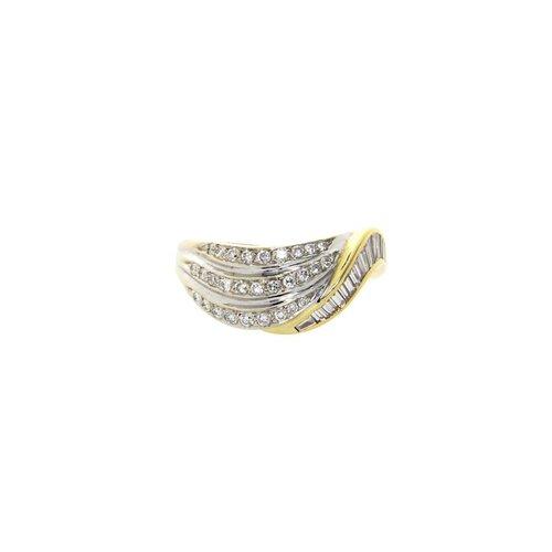Golden bicolour fantasy ring with diamond 18 krt